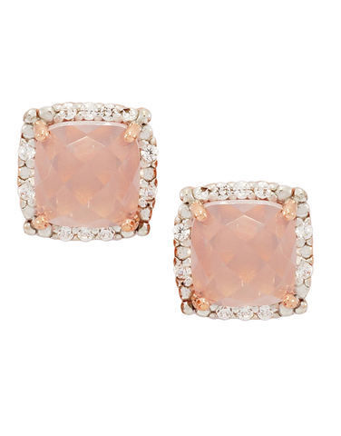 Rose Quartz Earrings - Rose Gold Rose Quartz and Diamond Earrings - 760649