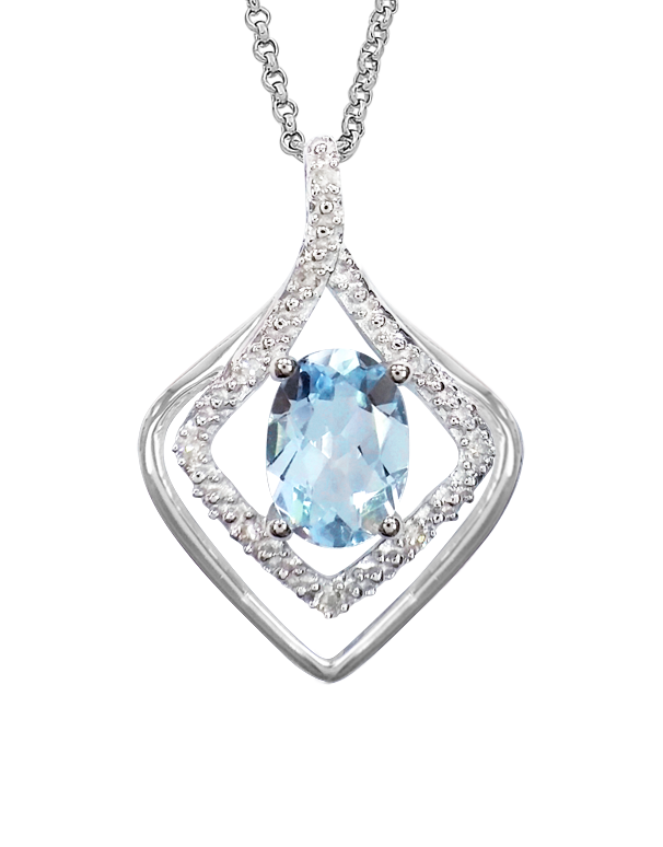 Aquamarine Pendant - 9ct White Gold Aquamarine and Diamond Pendant - 760651 - Salera's Melbourne, Victoria and Brisbane, Queensland Australia