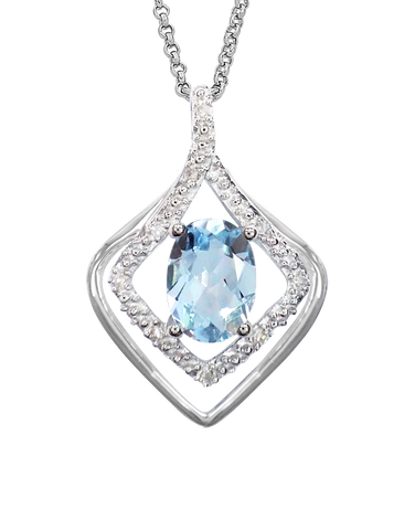 Aquamarine Pendant - 9ct White Gold Aquamarine and Diamond Pendant - 760651