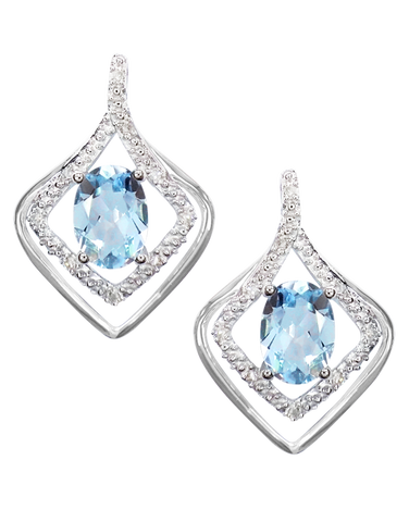Aquamarine Earrings - 9ct White Gold Aquamarine and Diamond Earrings - 760652