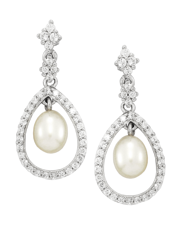 Pearl Earrings - White Gold Pearl & Diamond Earrings - 760657 - Salera's
