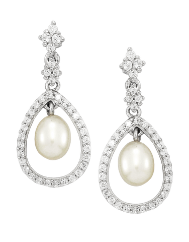 Pearl Earrings - White Gold Pearl & Diamond Earrings - 760657