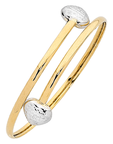 Gold Bangle - 9ct Two Tone Heart Bangle - 760786