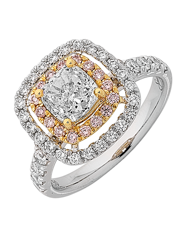Diamond Ring - Cushion Cut Diamond Halo Engagement Ring - 760792