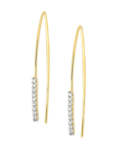 Diamond Earrings - Diamond Set Yellow Gold Earrings - 760826