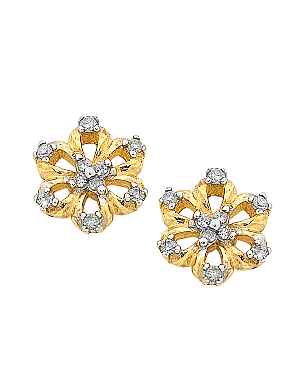 Diamond Earrings - Diamond Set Flower Studs - 760828 - Salera's Melbourne, Victoria and Brisbane, Queensland Australia
