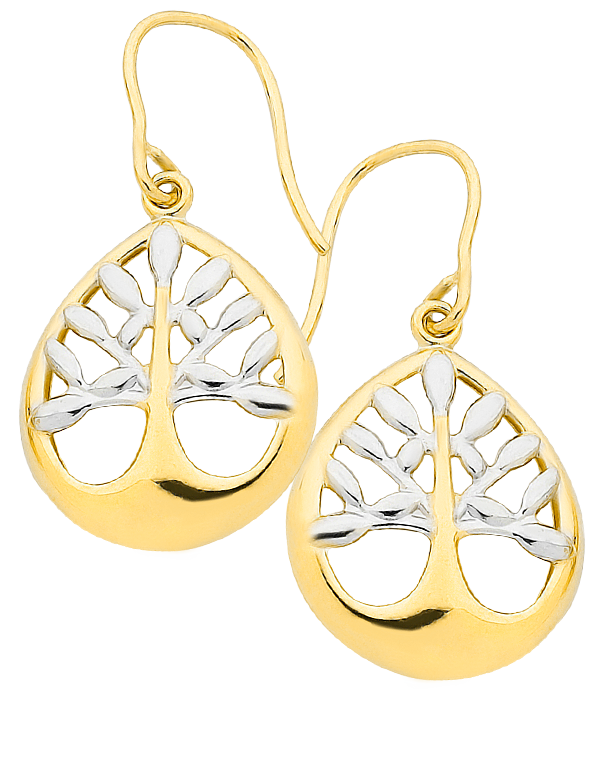 Gold Earrings - Two Tone Tree of Life Earrings - 760842 - Salera's Melbourne, Victoria and Brisbane, Queensland Australia