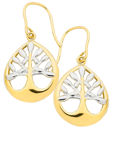 Gold Earrings - Two Tone Tree of Life Earrings - 760842