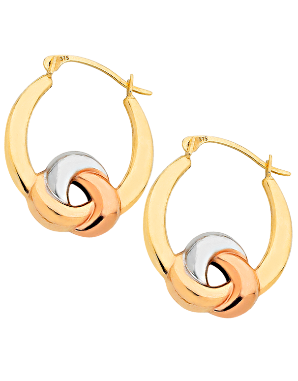 Gold Earrings - Three Tone Gold Hoop Earrings - 760848 - Salera's Melbourne, Victoria and Brisbane, Queensland Australia