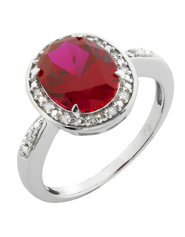 Ruby Ring - White Gold Created Ruby and Diamond Ring - 761105