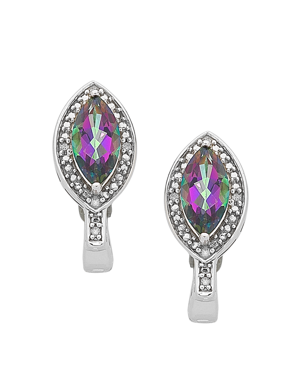 Mystic Topaz Earrings - White Gold Mystic Topaz & Diamond Earrings - 761106 - Salera's Melbourne, Victoria and Brisbane, Queensland Australia