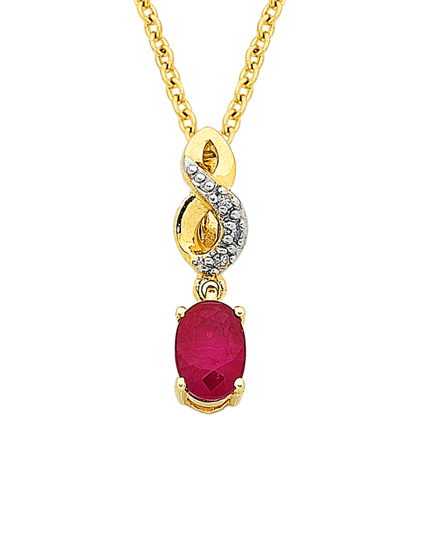 Ruby Pendant - Yellow Gold Ruby & Diamond Pendant - 761108 - Salera's Melbourne, Victoria and Brisbane, Queensland Australia