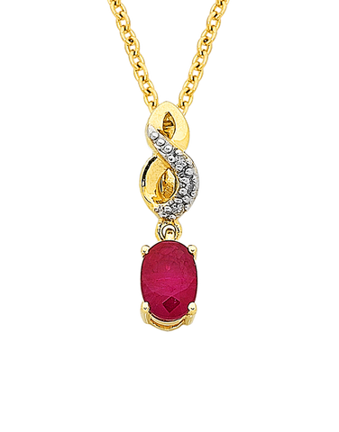 Ruby Pendant - Yellow Gold Ruby & Diamond Pendant - 761108