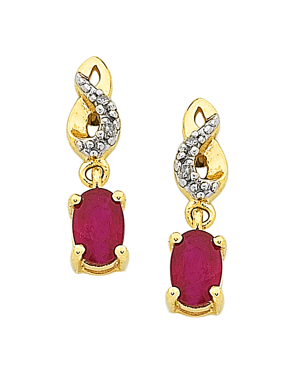 Ruby Earrings - Yellow Gold Ruby & Diamond Earrings - 761109 - Salera's Melbourne, Victoria and Brisbane, Queensland Australia