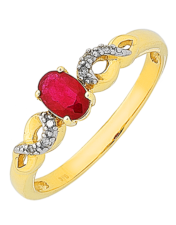 Ruby Ring - Yellow Gold Ruby & Diamond Ring - 761110 - Salera's