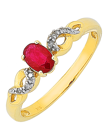 Ruby Ring - Yellow Gold Ruby & Diamond Ring - 761110