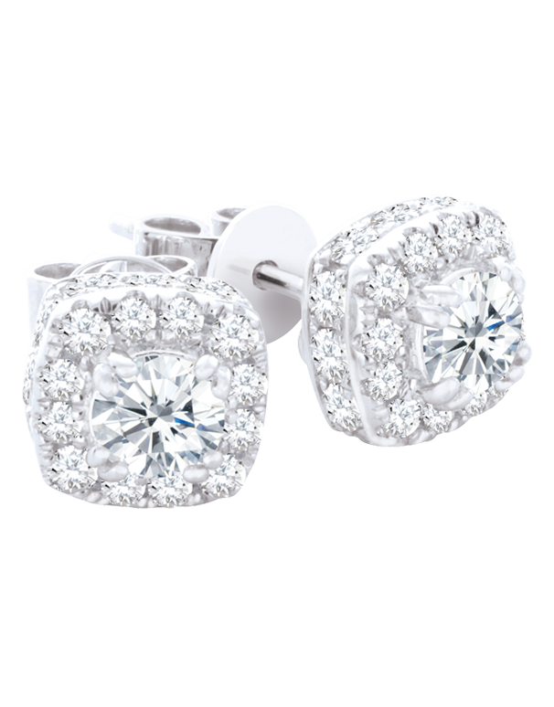 Diamond Earrings - Diamond Set White Gold Stud Earrings - 761314 - Salera's Melbourne, Victoria and Brisbane, Queensland Australia