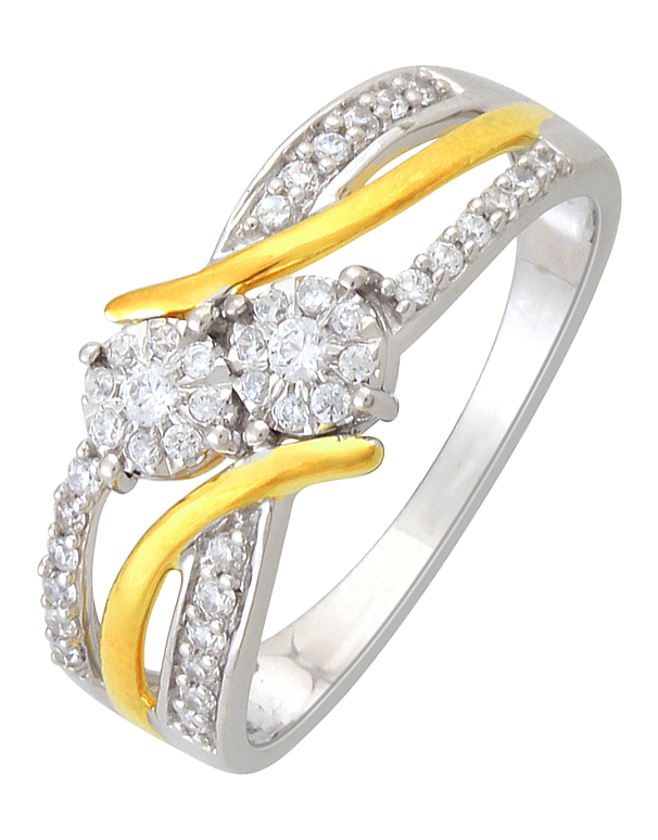 Diamond Ring - Two Tone Gold Diamond Ring - 761381 - Salera's