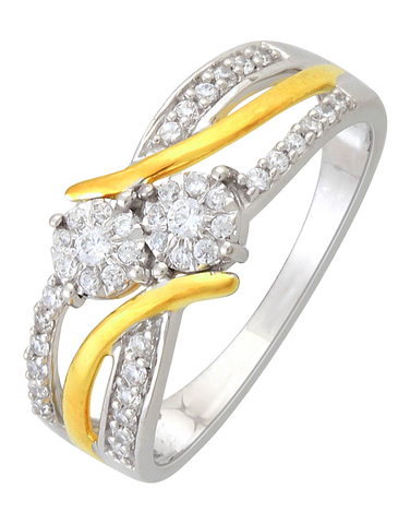 Diamond Ring - Two Tone Gold Diamond Ring - 761381