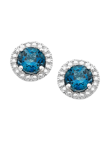 Blue Topaz Earrings - White Gold London Blue Topaz & Diamond Earrings - 761499