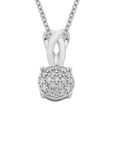 Diamond Pendant - White Gold Diamond Cluster Pendant - 761639