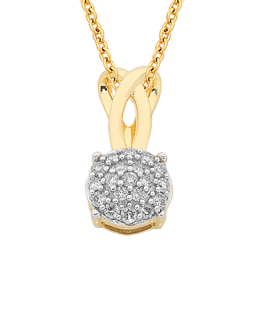 Diamond Pendant - Yellow Gold Diamond Cluster Pendant - 761640
