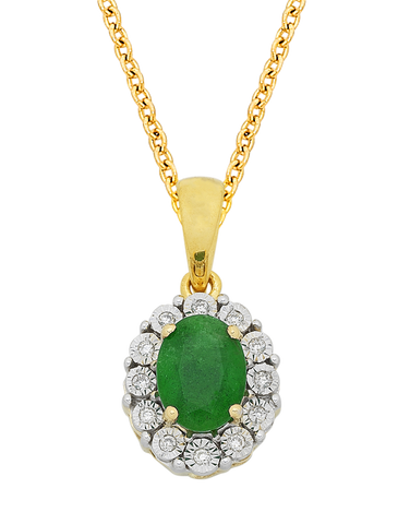 Emerald Pendant - Yellow Gold Emerald & Diamond Pendant - 761664