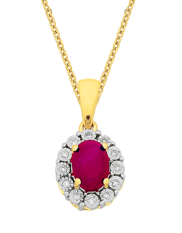 Ruby Pendant - Yellow Gold Ruby & Diamond Pendant - 761667
