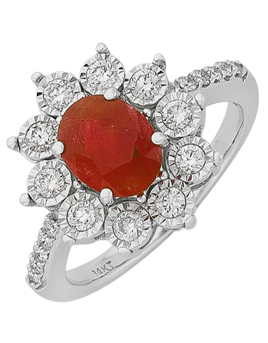 Ruby Ring - White Gold Ruby & Diamond Ring - 761673