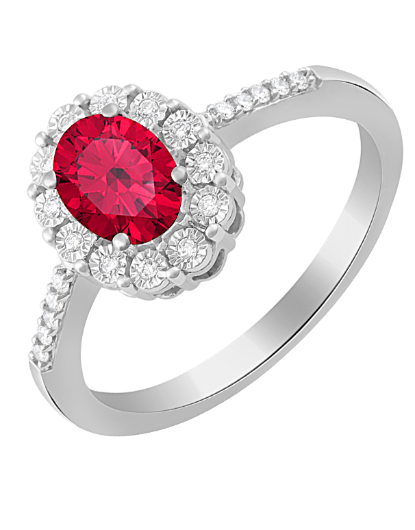 Ruby Ring - 14ct White Gold Ruby and Diamond Ring - 761677 - Salera's