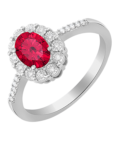 Ruby Ring - 14ct White Gold Ruby and Diamond Ring - 761677