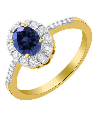 Sapphire Ring - 14ct Yellow Gold Sapphire and Diamond Ring - 761680
