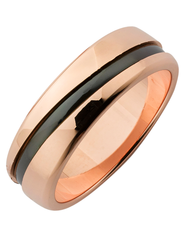Ziro - Men's Zirconium & Rose Gold Ring - 761785
