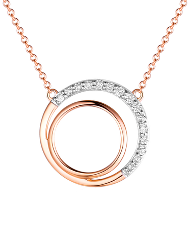 Diamond Pendant - Two Tone Rose Gold Diamond Pendant - 761686