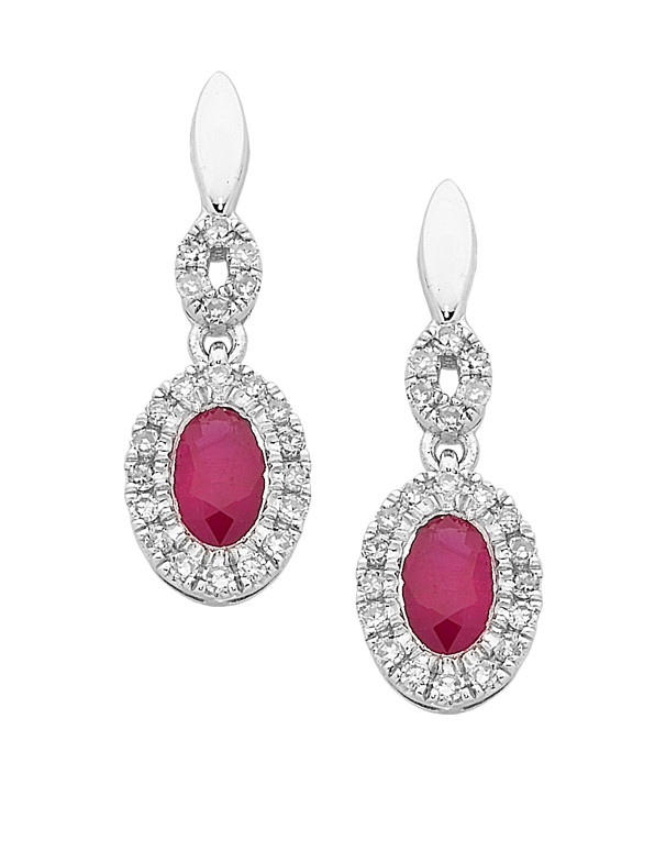Ruby Earrings - White Gold Ruby & Diamond Earrings - 761967 - Salera's Melbourne, Victoria and Brisbane, Queensland Australia