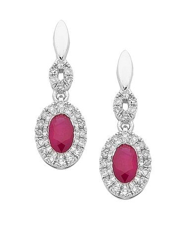 Ruby Earrings - White Gold Ruby & Diamond Earrings - 761697