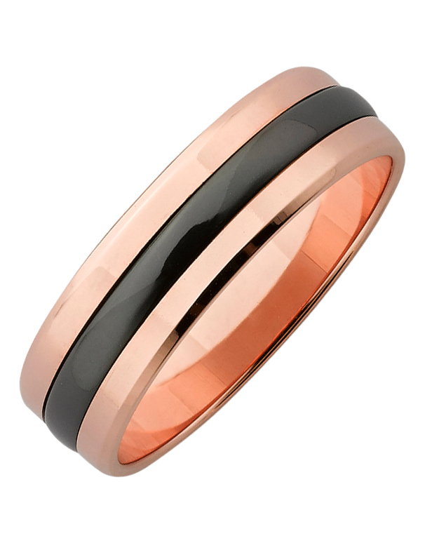 Ziro - Men's Zirconium & Rose Gold Ring - 761786 - Salera's