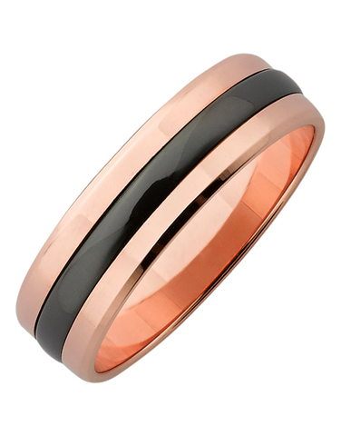 Ziro - Men's Zirconium & Rose Gold Ring - 761786