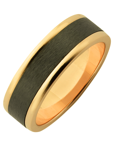 Ziro - Men's Zirconium & Yellow Gold Ring - 761788