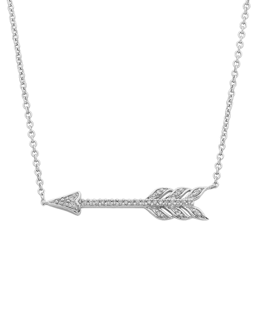 Diamond Necklet - White Gold Diamond Arrow Necklet - 761990
