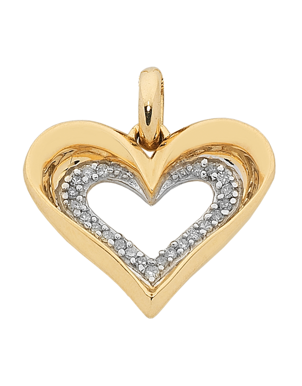 Diamond Pendant - Yellow Gold Diamond Heart Pendant - 762047 - Salera's Melbourne, Victoria and Brisbane, Queensland Australia