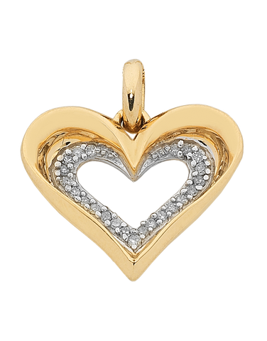 Diamond Pendant - Yellow Gold Diamond Heart Pendant - 762047