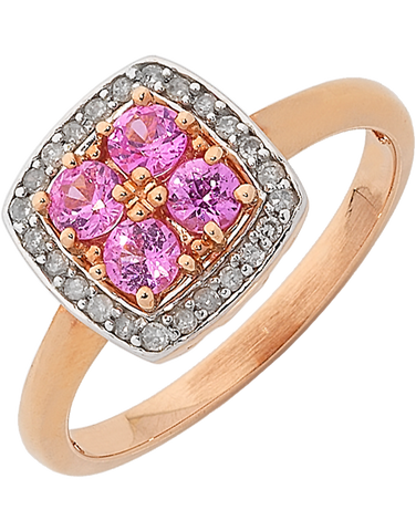 Pink Sapphire Ring - Rose Gold Pink Sapphire & Diamond Ring - 762055
