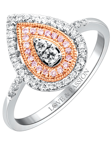 Love & Passion - White Gold Diamond Cluster Engagement Ring