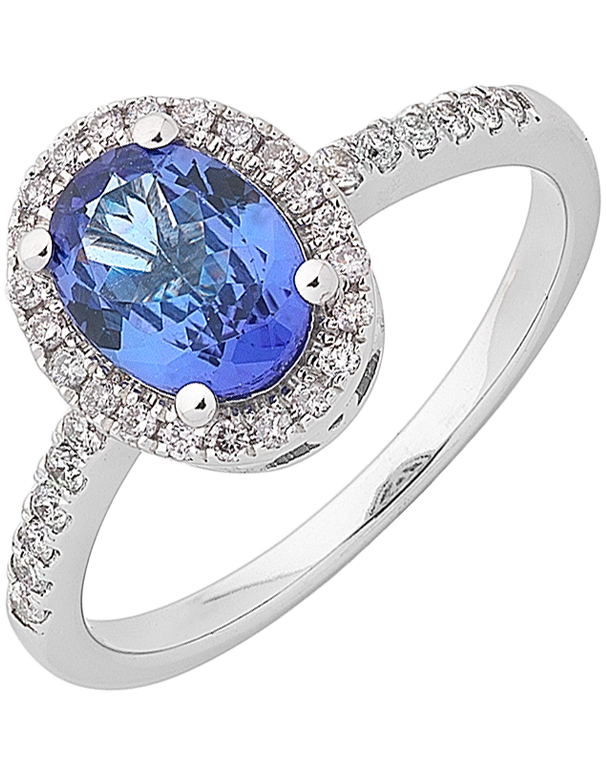 Tanzanite Ring - White Gold Tanzanite & Diamond Ring - 762111 - Salera's
