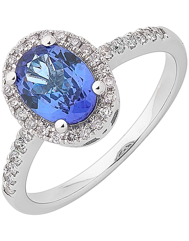 Tanzanite Ring - White Gold Tanzanite & Diamond Ring - 762111