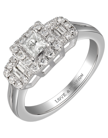 Love & Passion - White Gold Princess Cut Diamond Engagement Ring