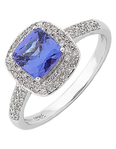 Tanzanite Ring - White Gold Tanzanite & Diamond Ring - 762436