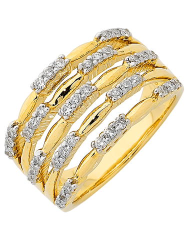 Diamond Ring - Yellow Gold Diamond Ring - 762437