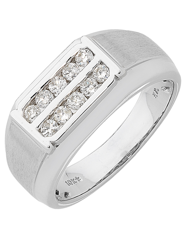 Men's Ring - White Gold Diamond Ring - 762446